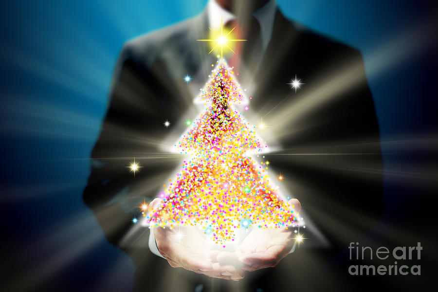 Business Mixed Media - Bussinessman With Christmas by Atiketta Sangasaeng