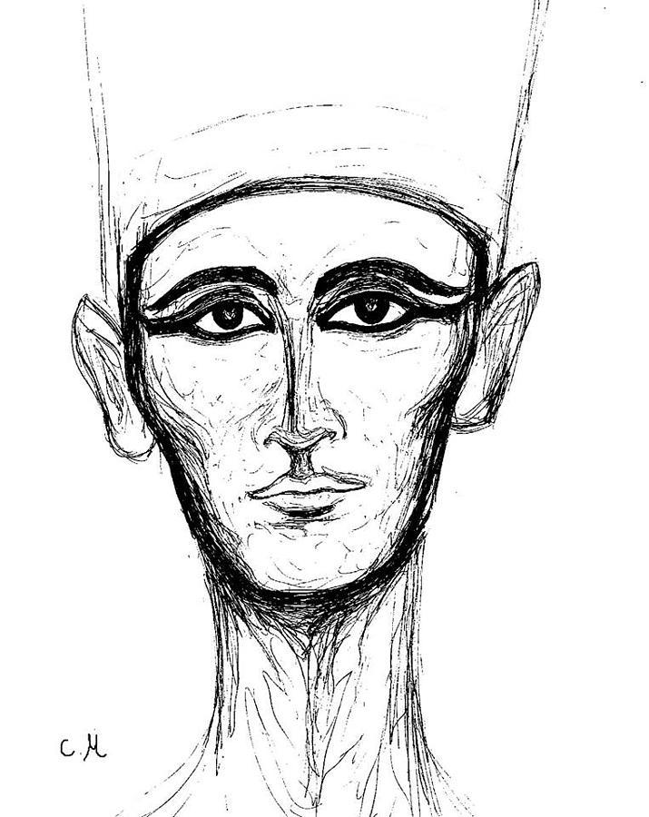 Nefertiti Drawing - Bust Of Nefertiti by Cindy MILLET