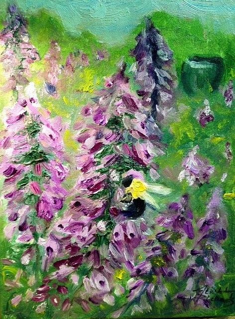 Bee Painting - Busy Bee by Jenell Richards
