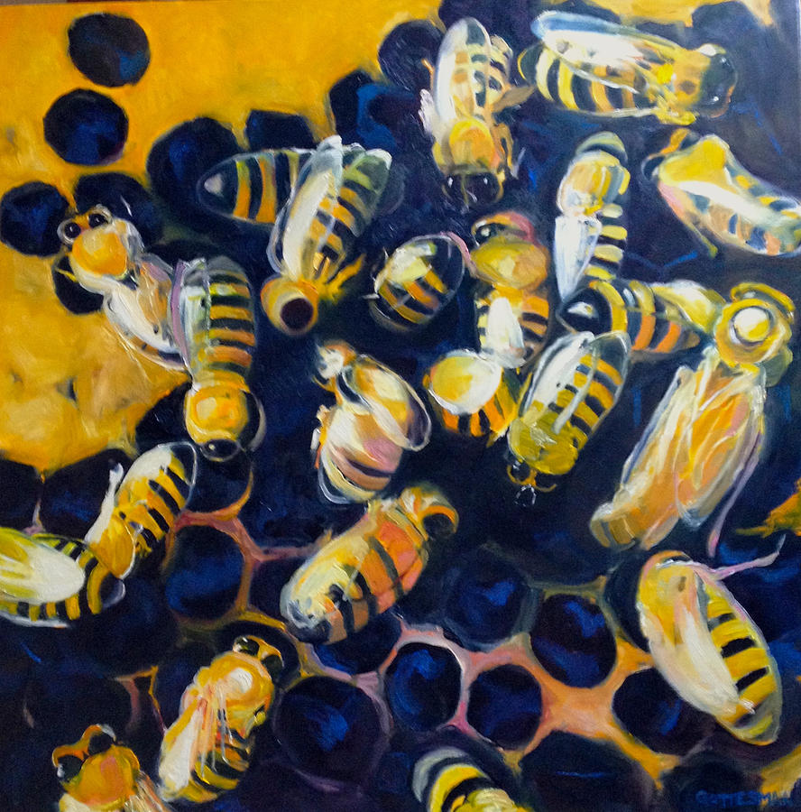 Bees Painting - Busy Bees by Rebecca Gottesman