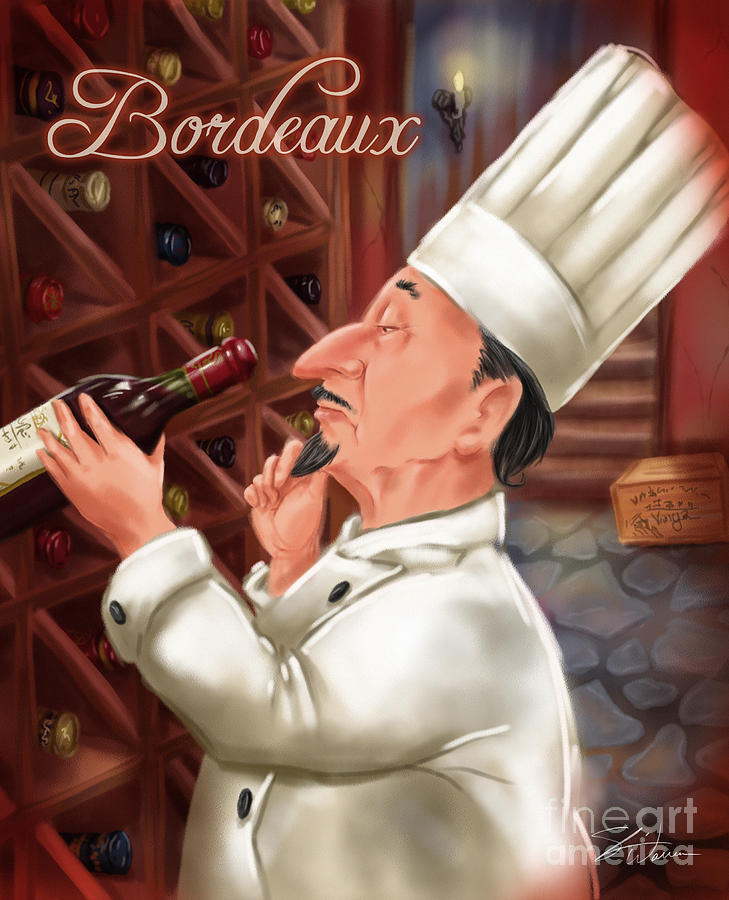 Waiter Mixed Media - Busy Chef With Bordeaux by Shari Warren