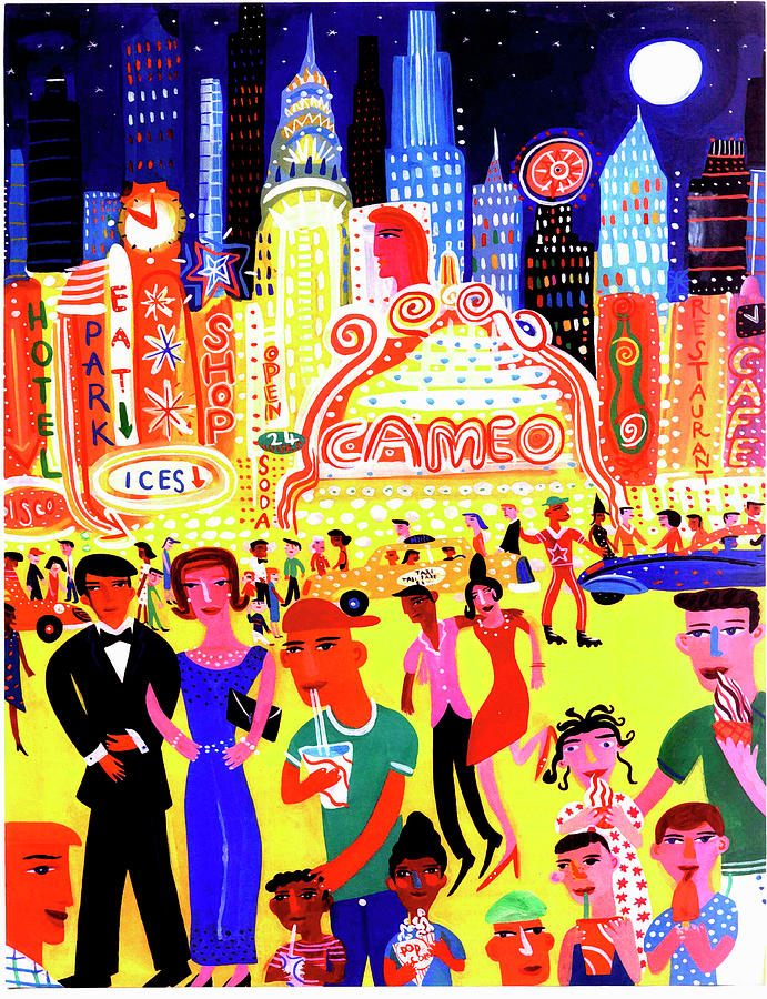 Busy Nightlife In New York City, United Digital Art by Christopher Corr
