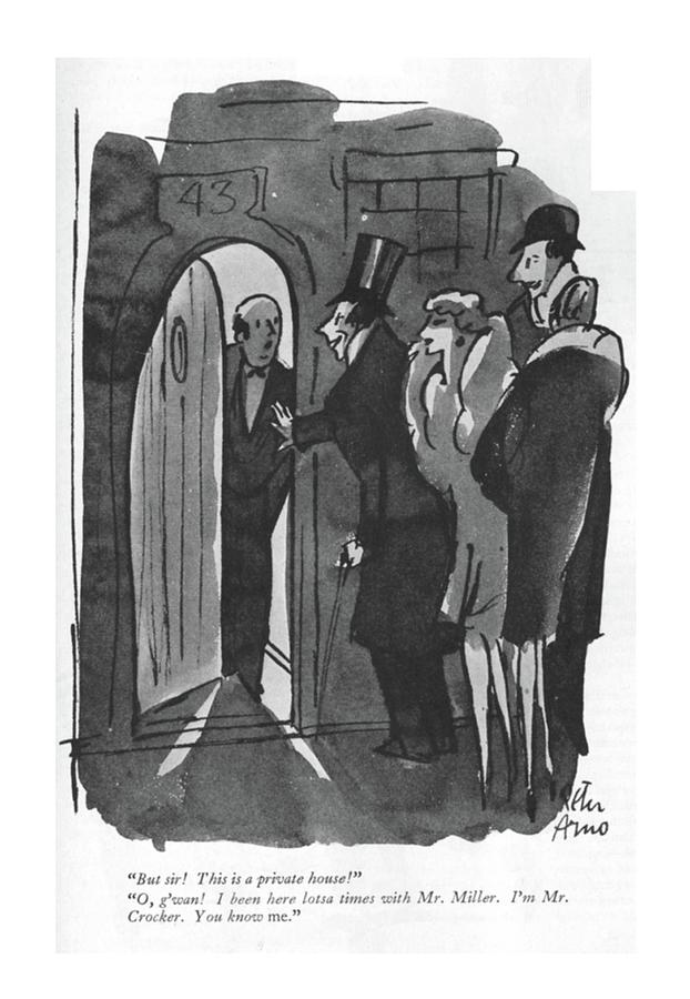 This Is A Private House Drawing by Peter Arno
