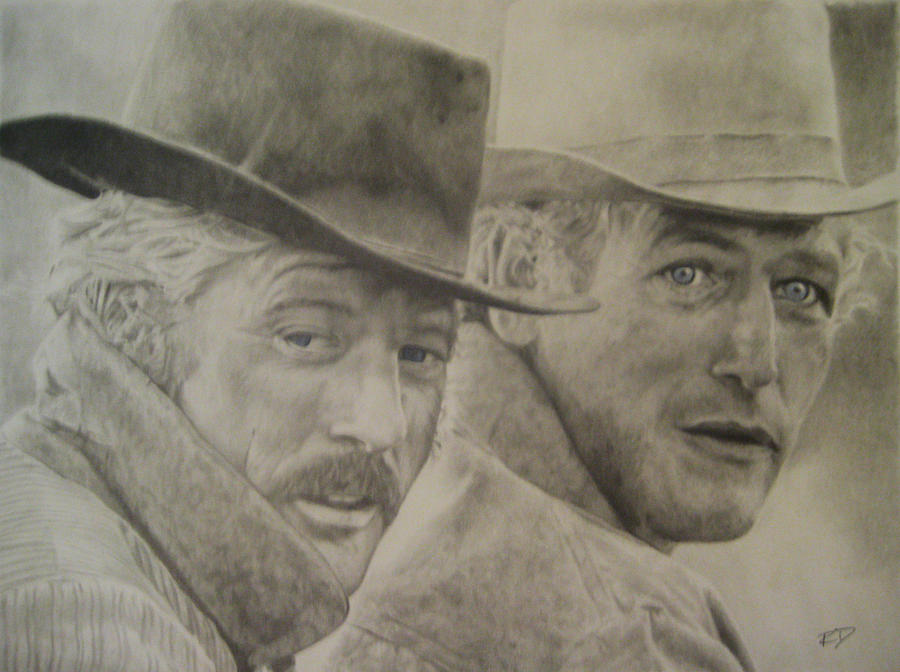 Paul Newman Drawing - Butch Cassidy And The Sundance Kid by Robbie Douglas