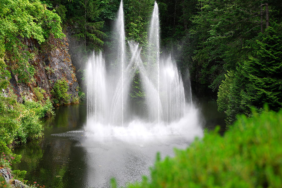 Waterfall Photograph - Butchart Gardens Waterfalls by Lisa Phillips