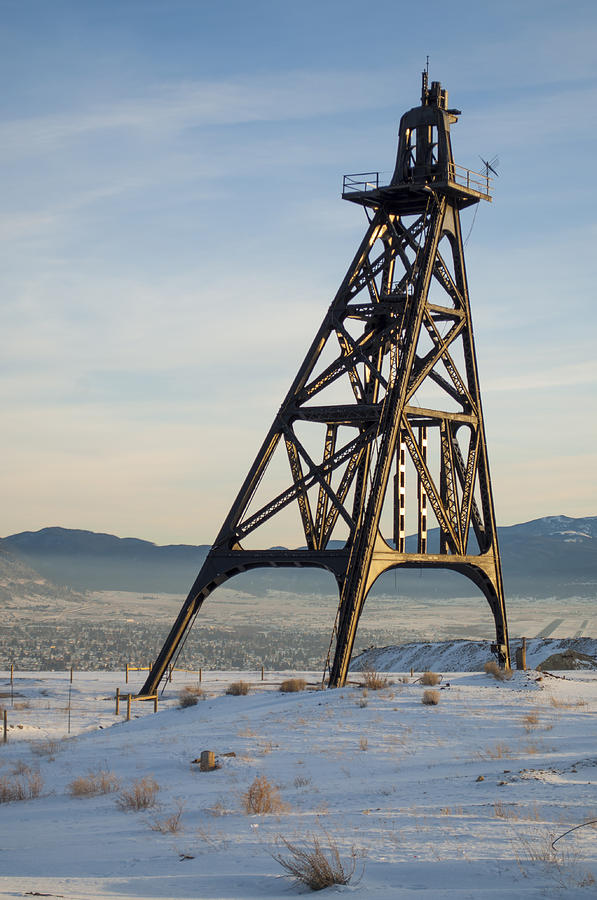 Mining Photograph - Butte Headframe by Fran Riley