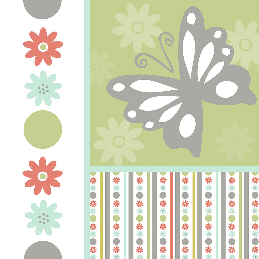 Butterflies And Blooms Tranquil Vi Painting by Nd Art & Design