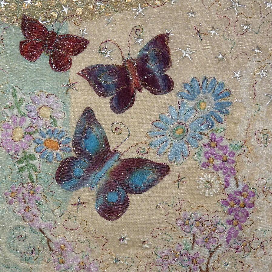 Embroidery Tapestry - Textile - Butterflies by Hazel Millington