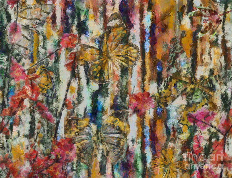 Abstract Digital Art - Butterflies In Plum Blossoms And Texture by Nola Lee Kelsey