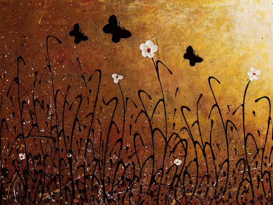 Abstract Painting Painting - Butterflies Landscape by Carmen Guedez
