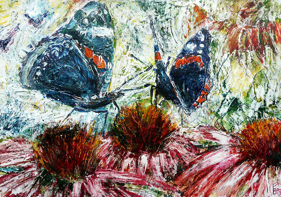 Admiral Painting - Butterflies On A Flowering Shrub by Florin Birjoveanu