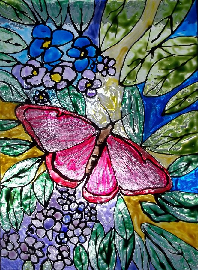 Butterfly and Flowers Painting by Chris Oldacre