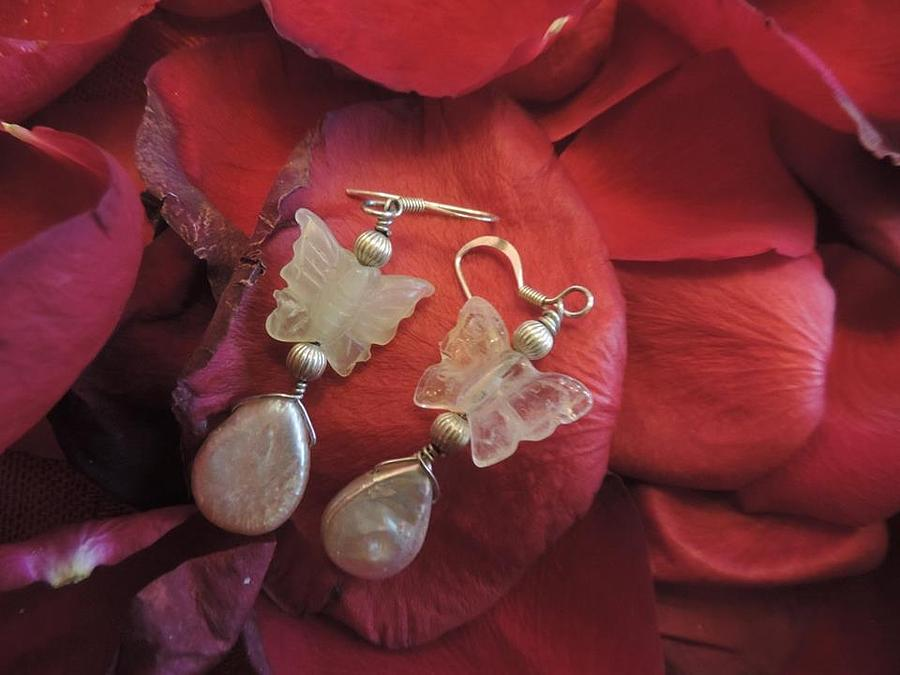 Stones Jewelry - Butterfly And Pearls by Darcy Lewis