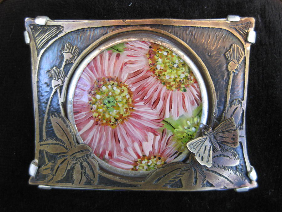 Pin Jewelry - Butterfly And Pinks by Brenda Berdnik