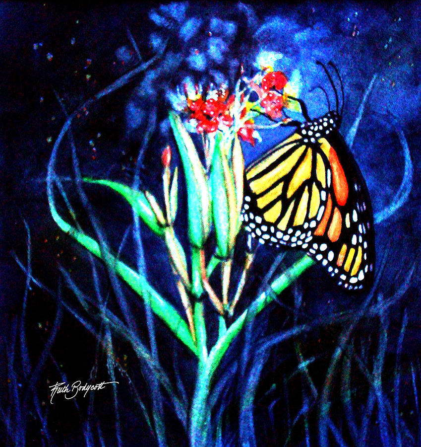 Watercolor Painting - Butterfly At Work by Ruth Bodycott