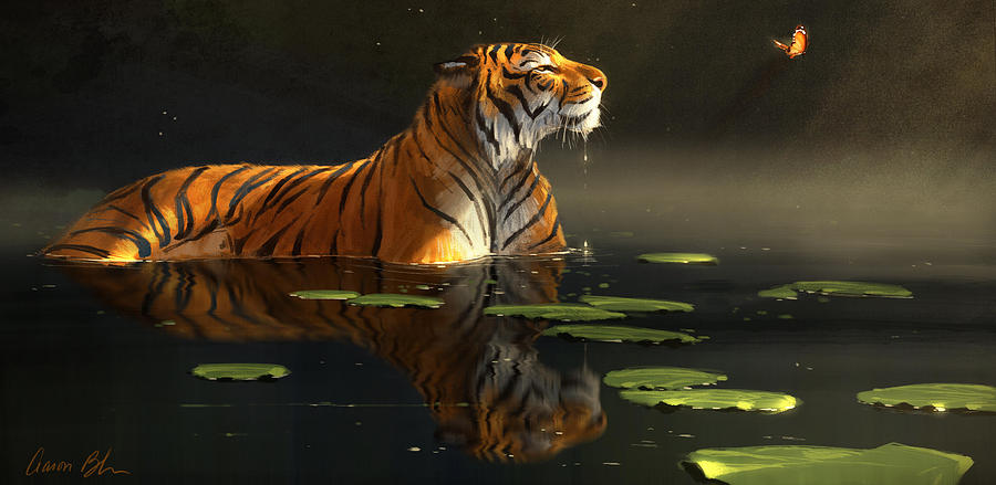 Tiger Digital Art - Butterfly Contemplation by Aaron Blaise