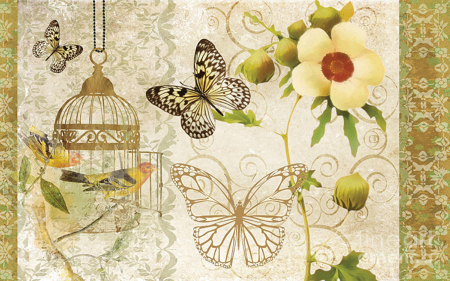 Butterfly Painting - Butterfly Green Collage by Grace Pullen