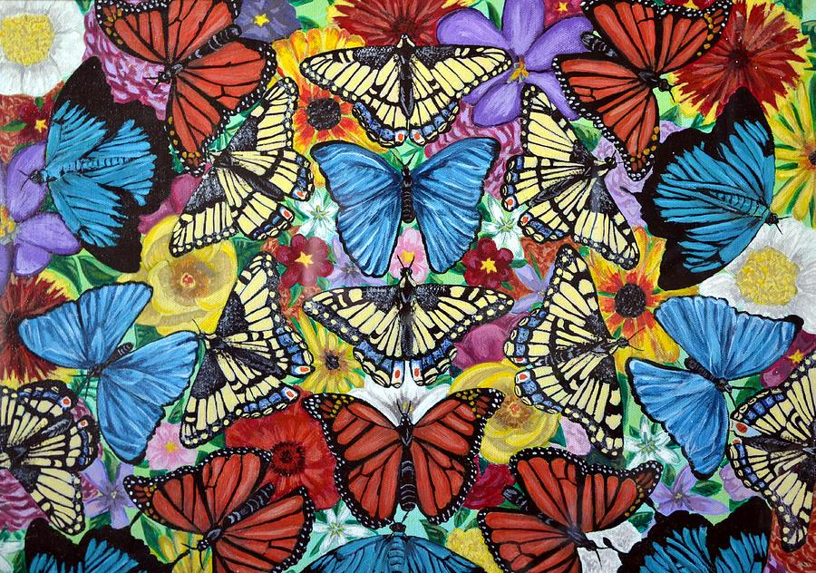 Butterflies Painting - Butterfly Haven by Teresa  Peterson