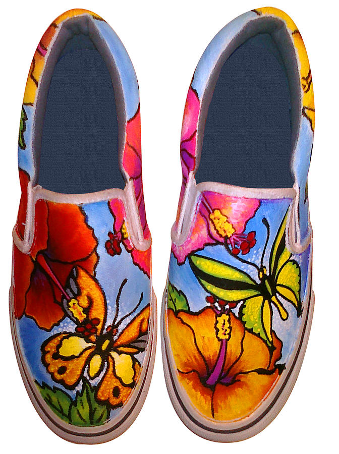 Butterfly Painting - Butterfly Hibiscus Custom Painted Shoes by Adam Johnson