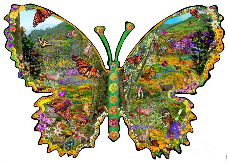 Abstract Digital Art - Butterfly Meadow Green by Alixandra Mullins