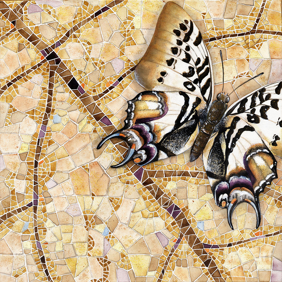 Acrylic Painting - Butterfly Mosaic 01 Elena Yakubovich by Elena Yakubovich