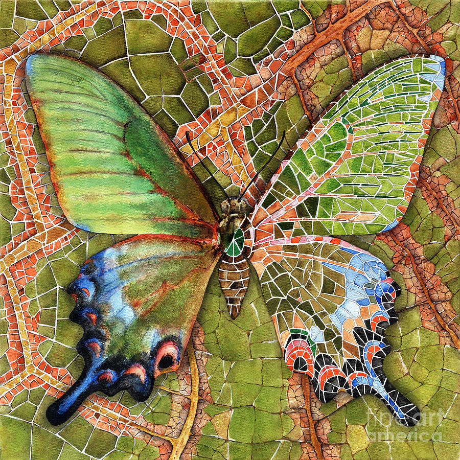 Butterfly Painting - Butterfly Mosaic 03 Elena Yakubovich by Elena Yakubovich
