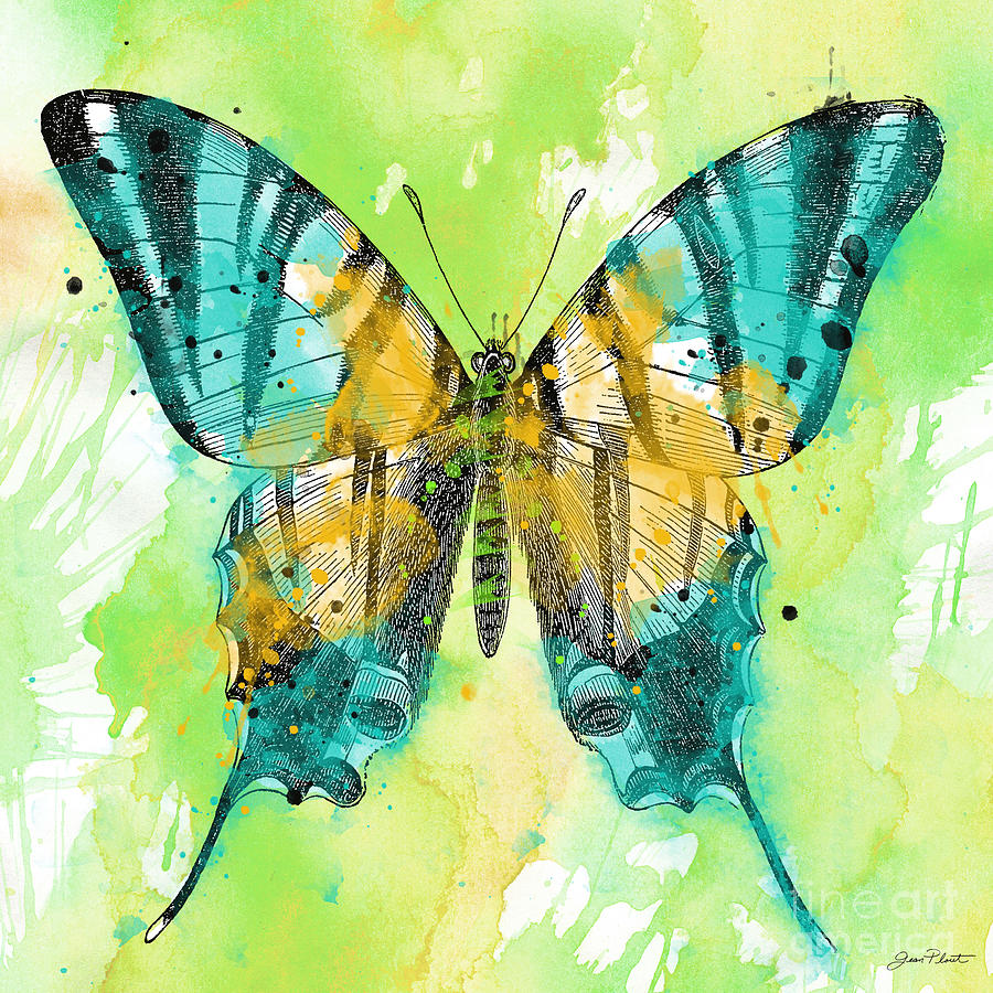 Butterfly On Green Watercolor-b Painting by Jean Plout