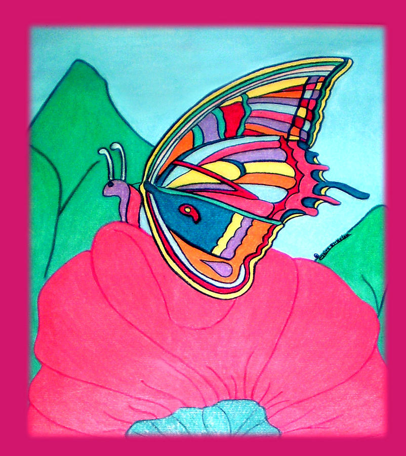 Colorful Butterfly On Pink Flower Pastel - Butterfly On Pink Flower by Claire Decker