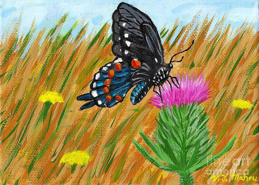 Butterfly Painting - Butterfly On Thistle by Vicki Maheu