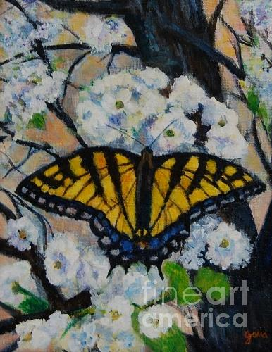 Butterfly Painting - Butterfly on Tree by Jana Baker