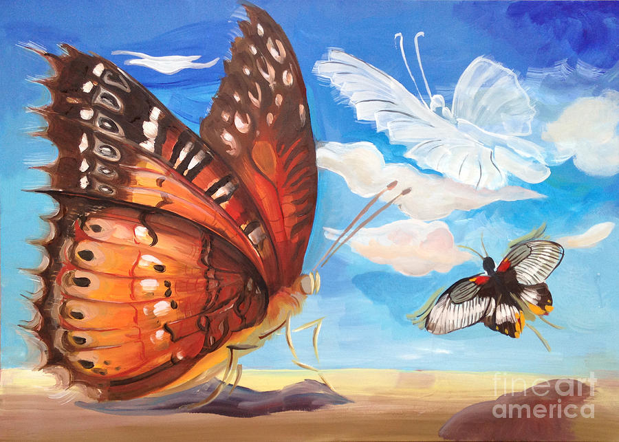 Butterfly Paysage 2 Painting by Art Ina Pavelescu
