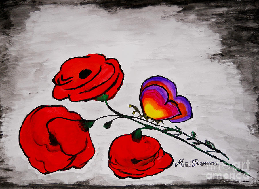 Poppies Painting - Butterfly Poppies by Ramona Matei