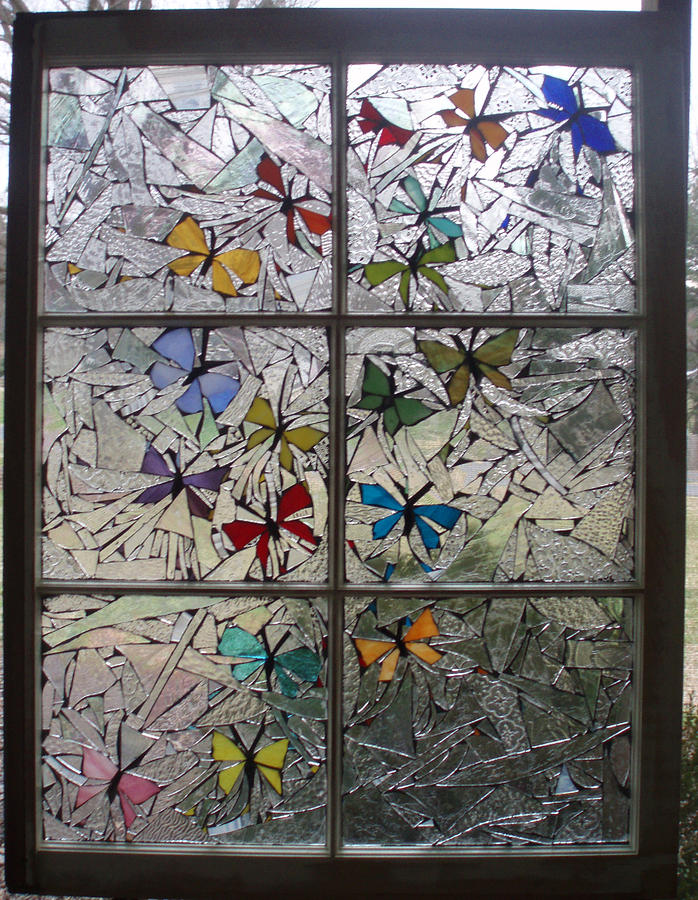 Butterfly Glass Art - Butterfly Swirl by Liz Lowder
