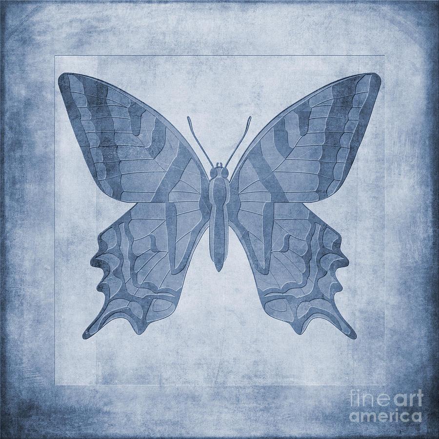 Butterfly Textures Cyanotype Digital Art