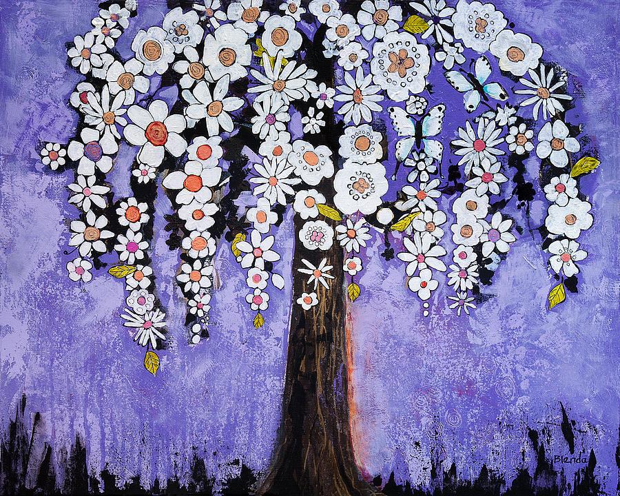 Floral Painting - Butterfly Tree by Blenda Studio