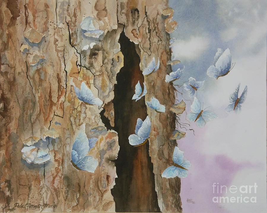 Trees Painting - Butterfly Tree by Paula Marsh