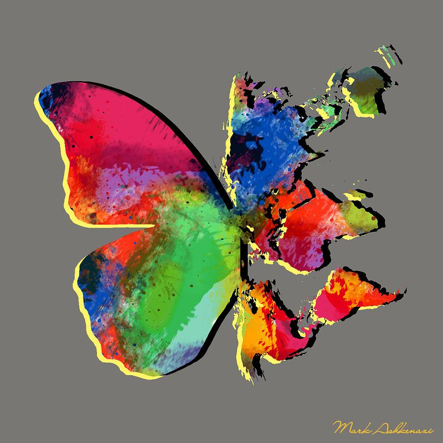 Butterfly Digital Art - Butterfly World Map 2 by Mark Ashkenazi