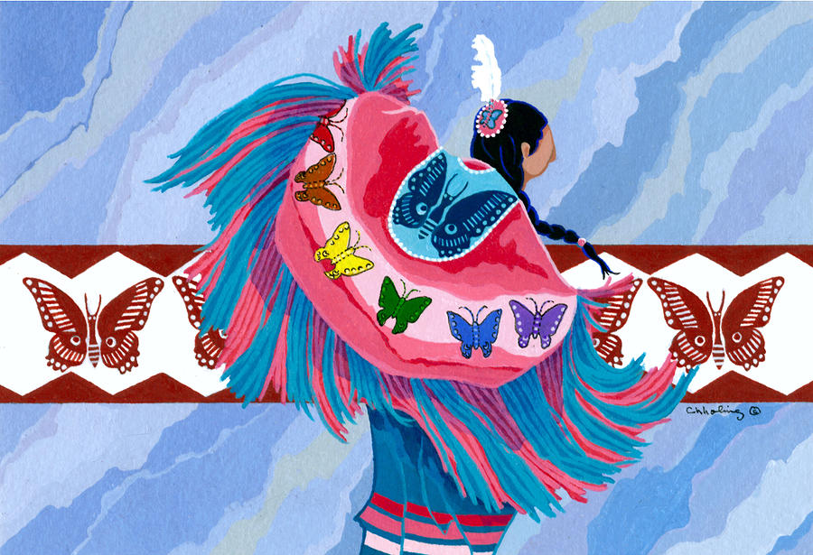 America Painting - Butteryfly Fancy Dancer by Chholing Taha