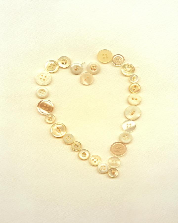 Heart Digital Art - Button Heart Collage  by Ann Powell