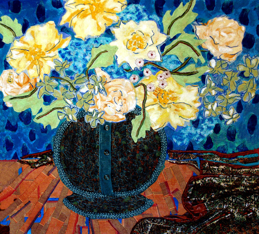 Flowers In A Vase Mixed Media - Button Up Vase by Diane Fine