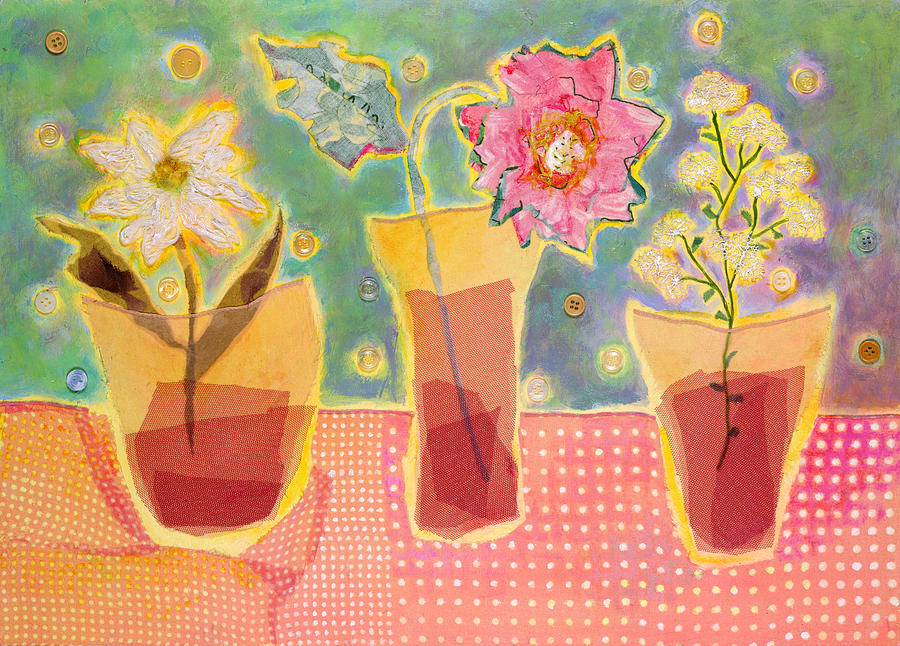 Flowers In A Vase Mixed Media - Buttons by Diane Fine