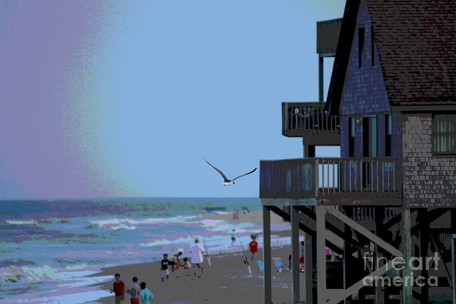 Seagull Photograph - Buxton Beach And People by Cathy Lindsey