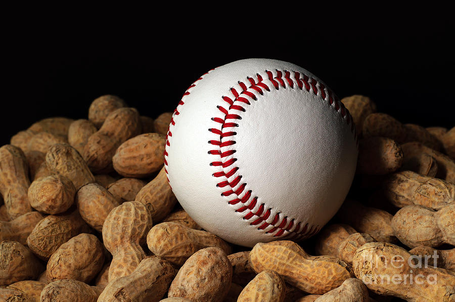 Ball Photograph - Buy Me Some Peanuts - Baseball - Nuts - Snack - Sport by Andee Design