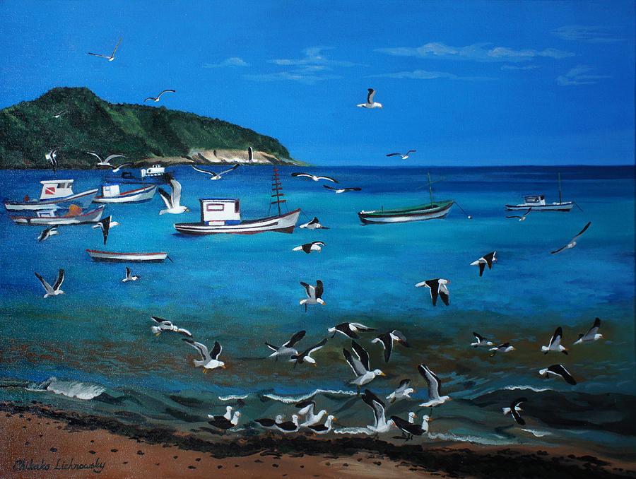 Boat Painting - Buzios by Chikako Hashimoto Lichnowsky