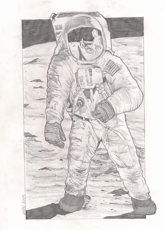 Buzz Aldrin Apollo 11 Drawing By Paul Mcrae