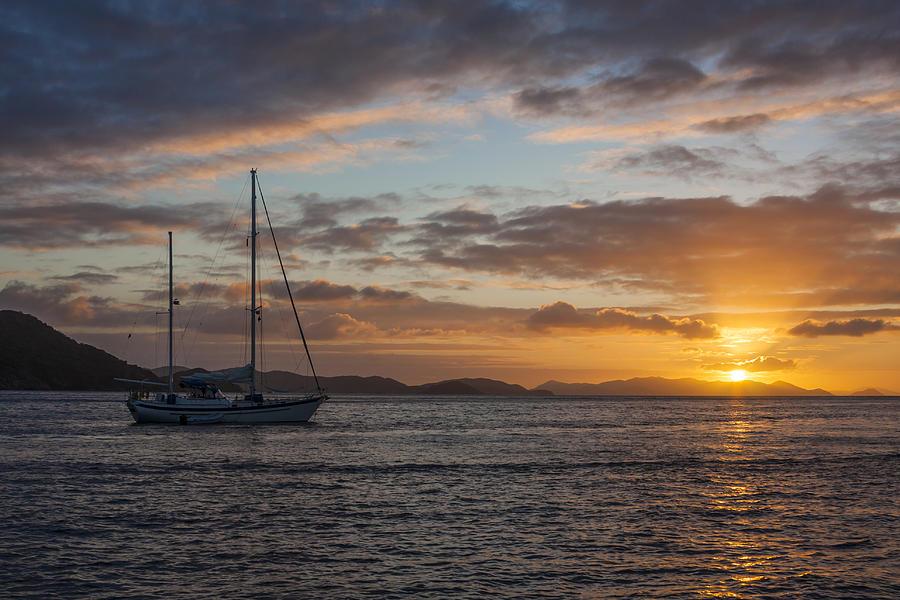 Beach Photograph - Bvi Sunset by Adam Romanowicz