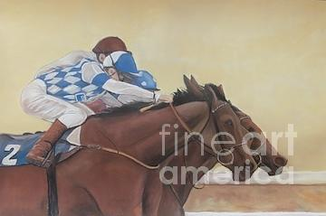 Horse Race Painting - By A Nose by Charlotte Yealey