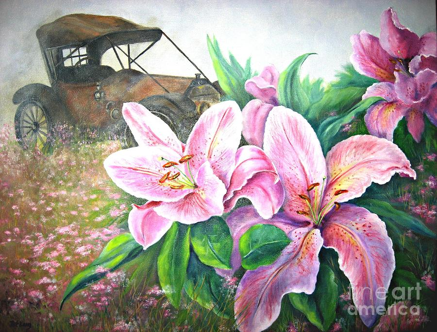 Lilies Painting - By Gone Days by Patricia Lang
