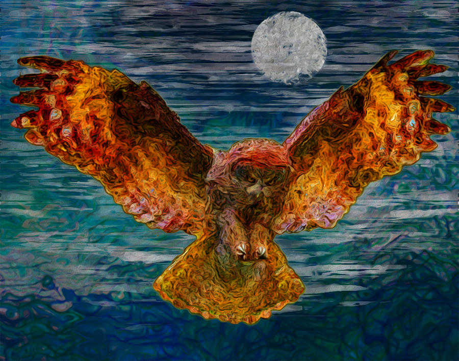 Owl Painting - By The Light Of The Moon by Jack Zulli