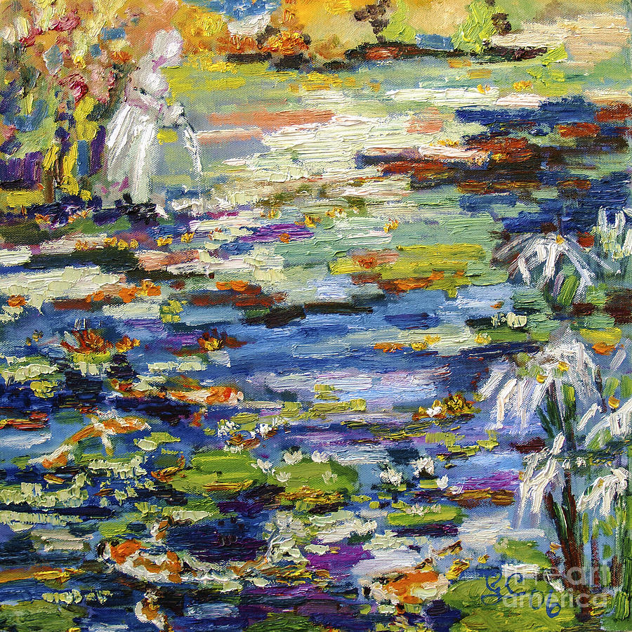 By the Lily Pond Painting by Ginette Callaway